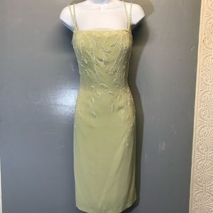 Sz 8 Le Gala soft Sage With Ivory Beaded Dress